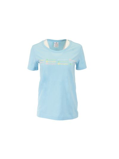 Ženska športna majica Champion COLOR & LOGO - modra