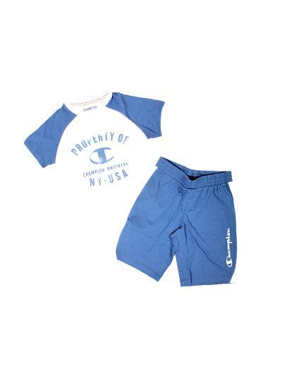 Otroški komplet majica + hratke hlače Champion 303975 bel WHT/VROY