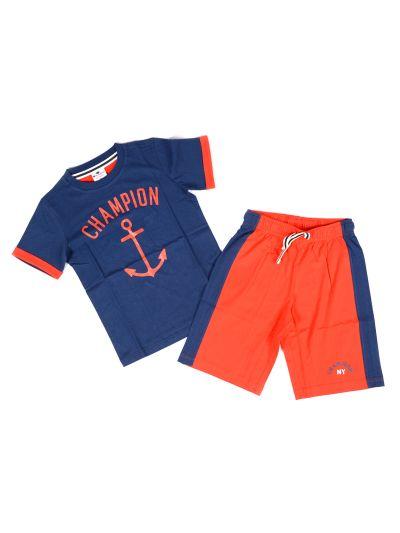 Otroški komplet T-SHIRT majica in kratke hlače Champion ISB 304390 SAIL modre/rdeče
