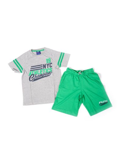 Otroški komplet T-SHIRT majica in kratke hlače 304448 siv OXG