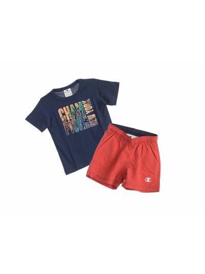Fantovski komplet Beach T-Shirt majica in kratke hlače Champion® 304625 modri BLI