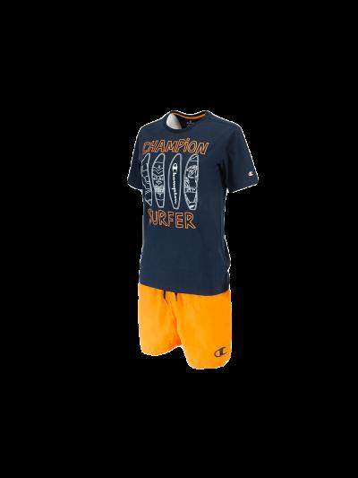 Otroški komplet kratki rokavi Champion 305278 - navy/oranžen