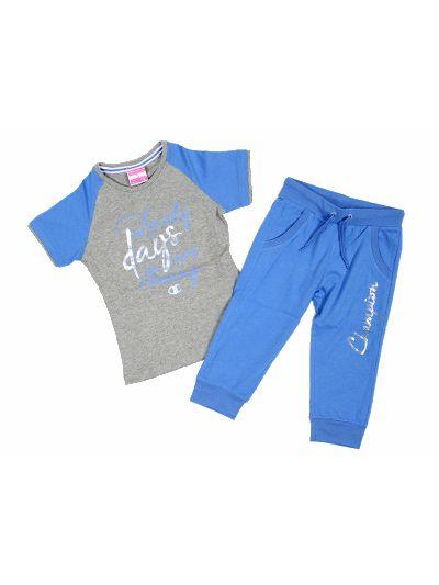 Dekliški komplet hlače in majica Champion 402662 siv OXG/HIB