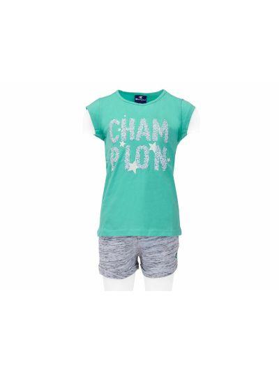 Dekliški komplet T-Shirt majica in kratke hlače Champion® 403318 mint CCK