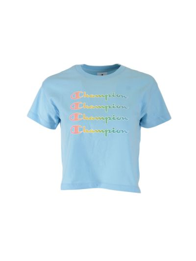 Dekliška majica krajša Champion COLOR & LOGO - pastelno modra