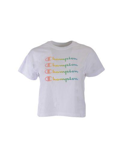 Dekliška majica krajša Champion COLOR & LOGO - bela