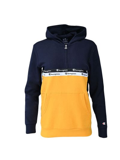 Fantovski pulover s pol zadrgo in kapuco Champion ® TAPE MANIA - navy / rumen