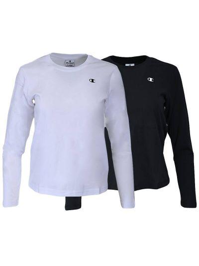 Komplet dekliških majic dolg rokav Champion ® 404238 - črna / bela