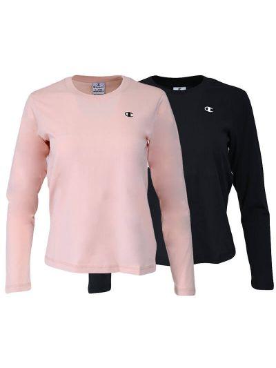 Komplet dekliških majic dolg rokav Champion ® 404238 - črna / roza