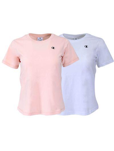 Komplet dekliških majic kratek rokav Champion ® 404237 - bela / roza