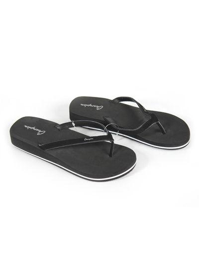 Ženski / dekliški sandali na prst - japonke z debelim podplatom Champion® S10100 črne NBK