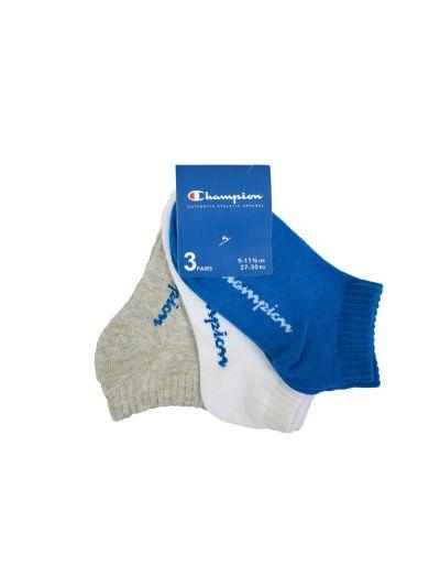 Otroške nogavice Champion® 804080 kratke 3 pari sive/modre/bele RBL