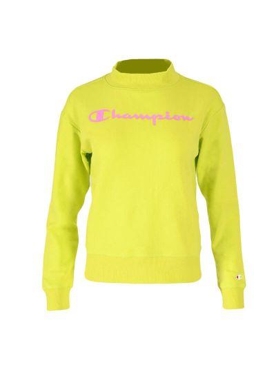 Dekliški pulover z visokim ovratnikom Champion ® 403918 - fluo zelen / roza logotip