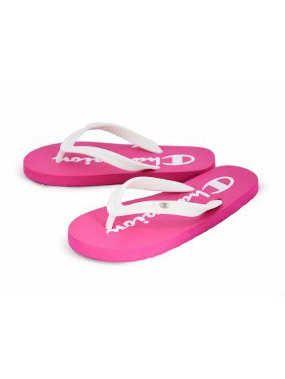 Ženski / dekliški sandali na prst - japonke Champion® S10440 bele/ciklamne FUR/WHT