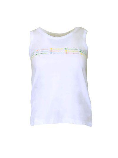 Dekliška majica brez rokavov Champion COLOR & LOGO 404159 - bela