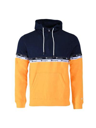 Moški pulover s polzadrgo in kapuco Champion ® 216564 TAPE MANIA - rumen / navy