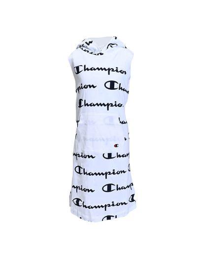 Dekliška poletna obleka s kapuco Champion PRINT ALLOVER 403813 - bela