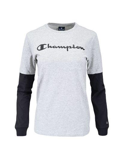 Otroška majica dolg rokav Champion® TWO TONE 305367 - siva / črna