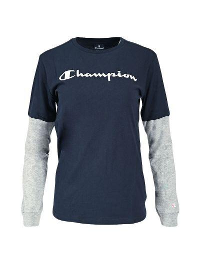 Otroška majica dolg rokav Champion® TWO TONE 305367 - navy / siva