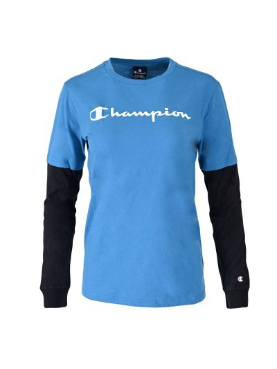 Otroška majica z dolgimi rokavi Champion ® TWO TONE 305367 - modra