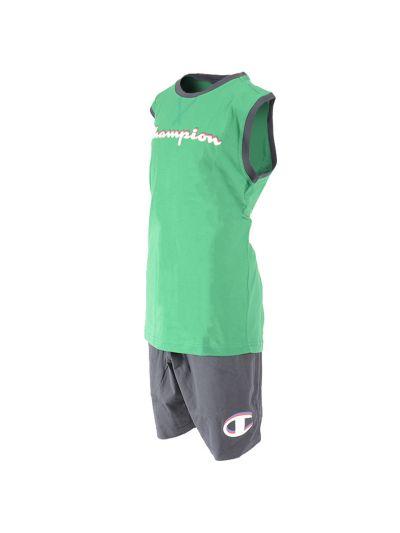 Otroški športni komplet brez rokavov Champion® 304887 - zelen/črn