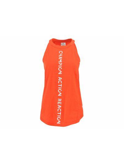 Ženska športna majica Champion® C111354 brez rokavov Action oranžno-rdeča TGR