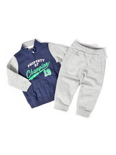 Baby komplet Champion C501563 za fantke, jopica, dolge hlače, moder/siv BLI/OXG