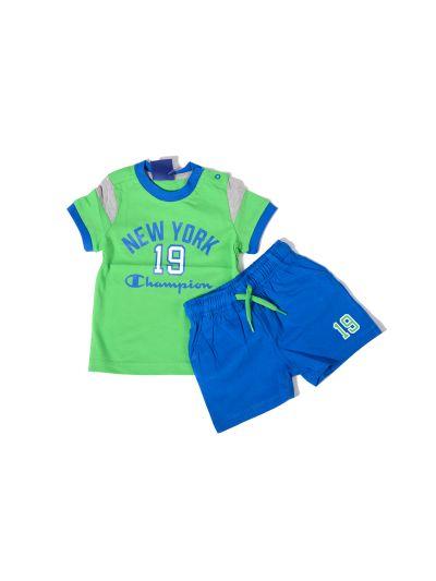 Baby komplet Champion za fantke, majica kr. rokav, kr. hlače, zelen/moder BGE/RBL