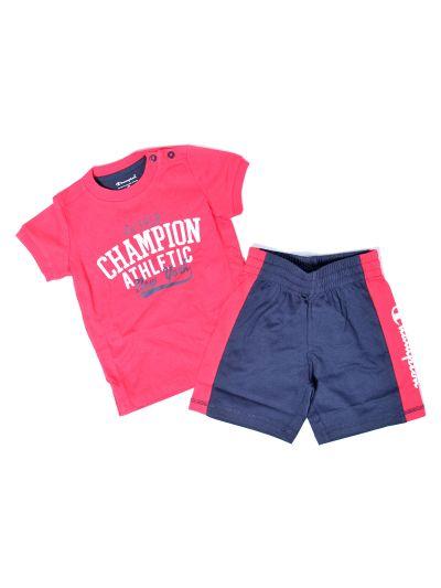 Baby komplet Champion, majica kratek rokav, kratke hlače, rdeč/moder RED/NNY