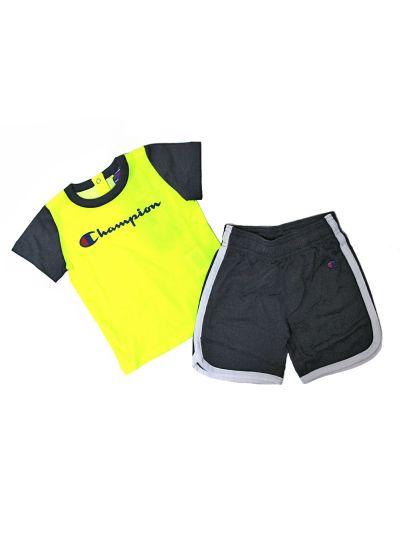 Baby komplet Champion za fantke, majica kr. rokav, kr. hlače, rumen/črn SYF/BLI