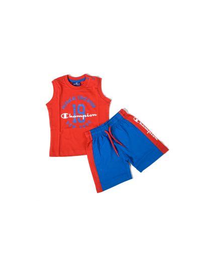 Baby komplet Champion® C501580 za fantke, majica kr. rokav, kr. hlače, rdeč/moder RED/RBL