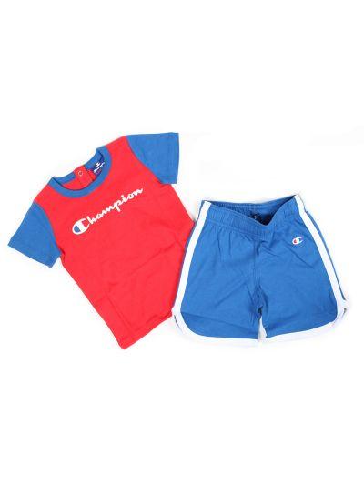 Baby komplet Champion C501584 za fantke, majica kr. rokav, kr. hlače, rdeč/moder RED/OLB
