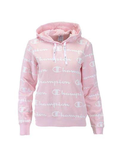 Ženski pulover s kapuco Champion PRINT 112617 - pastelno roza